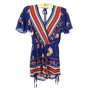 Band of Gypsies Floral V-Neck Romper XS Blue Red